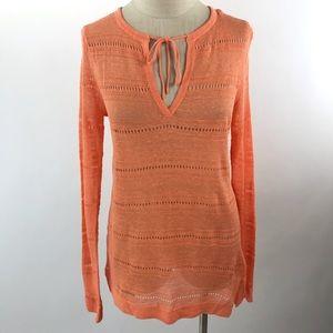 Ann Taylor Pullover Open-Knit Sweater Orange